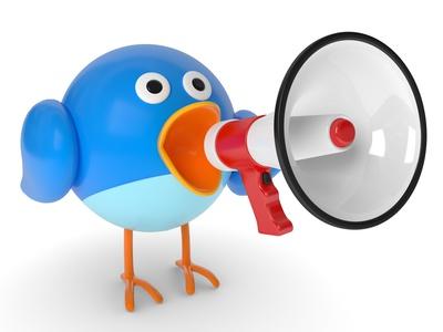 Twitter Vogel mit Megaphone